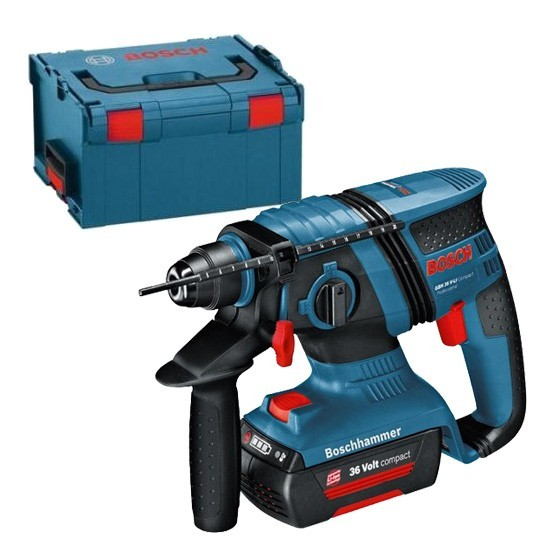 BOSCH GBH36VLI-EC 36V BRUSHLESS SDS PLUS HAMMER DRILL WITH 2X 2.0AH LI-ION BATTERY SUPPLIED IN L-BOXX