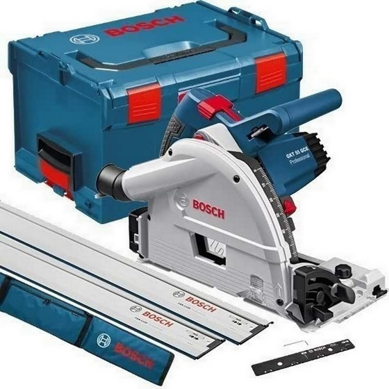 BOSCH GKT55GCE 160MM PLUNGE SAW KIT 1400W SUPPLIED IN L-BOXX 110V + 2X GUIDE RAILS, BAG AND CONNECTOR