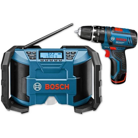 bosch jobsite radio combi drill kit with 2 x batteries. Black Bedroom Furniture Sets. Home Design Ideas