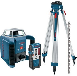 BOSCH GRL400H ROTATION LASER WITH LASER RECEIVER, TRIPOD & ROD