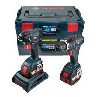 BOSCH GSB18V-LI COMBI + GDR18V-LI IMPACT DRIVER WIRELESS CHARGING TWIN PACK 2X 2.0AH LI-ION BATTERIES