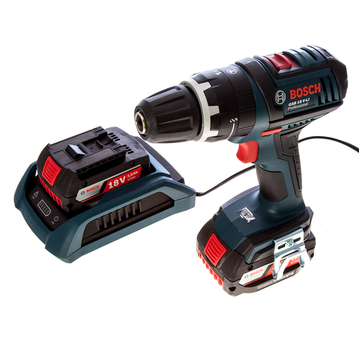 BOSCH GSB18V-LI DYNAMIC SERIES COMBI DRILL WITH 2X 2.0AH LI-ION BATTERIES + WIRELESS CHARGING