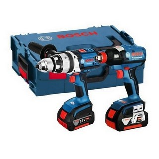BOSCH GSB18VE2-LI + GDX18 18V ROBUST TWIN PACK 2x 4.0AH LI-ION BATTERIES SUPPLIED IN L-BOXX