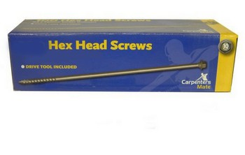 Carpenters Mate CMHH-190-100 Pack Of 100 Pro Hexagon Head Screws 190mm