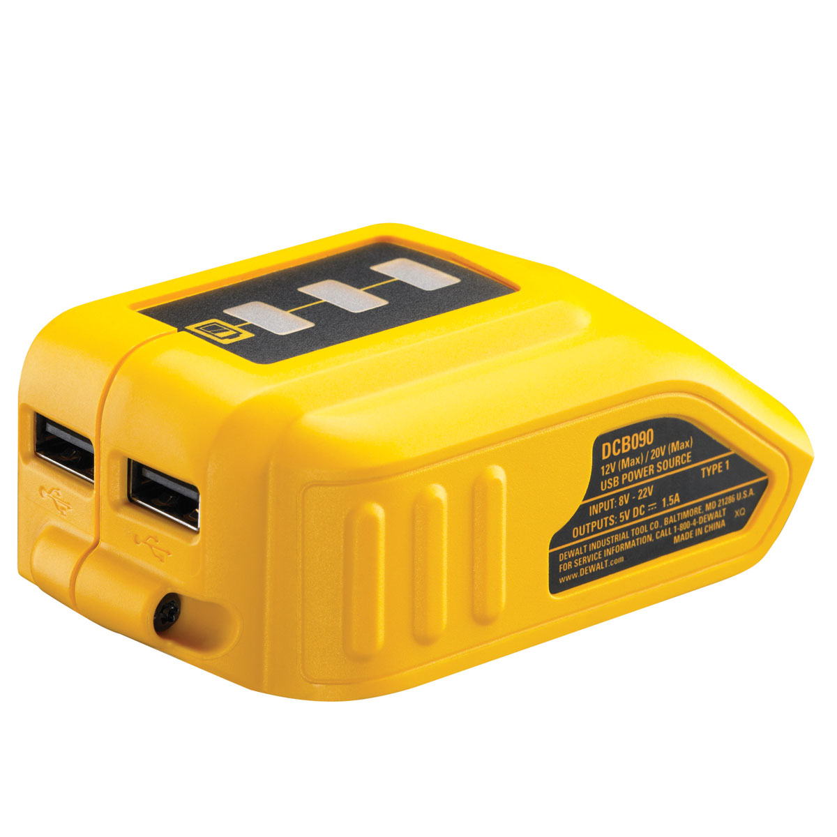 DEWALT DCB090 USB CHARGING BATTERY ADAPTOR MULTI-VOLTAGE