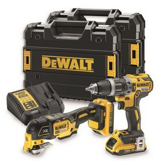 DEWALT DCK208D2T 18V MULTI TOOL & COMBI TWIN PACK WITH 2X2.0AH LI-ION BATTERIES
