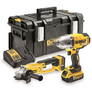 DEWALT DCK269P2 18V IMPACT WRENCH & ANGLE GRINDER TWIN PACK 2 X 5.0AH LI-ION BATTERIES