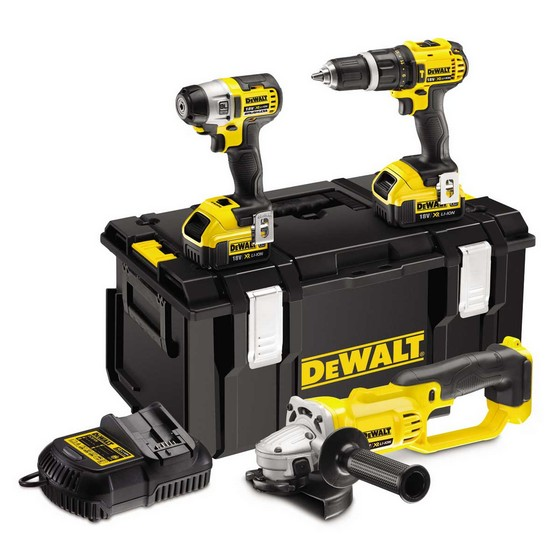 DEWALT DCK381M2 18V 2 SPEED COMBI DRILL / IMPACT DRIVER AND GRINDER PACK 2 x 4.0ah LITHIUM-ION XR BATTERIES
