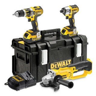 DEWALT DCK382M2 18V BRUSHLESS COMBI HAMMER, IMPACT DRIVER & ANGLE GRINDER TRIPLE PACK WITH 2X 4.0AH LI-ION BATTERIES