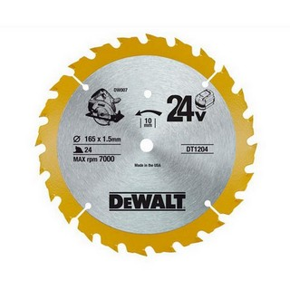 DEWALT DT1204-QZ CORDLESS TRIM SAW BLADE 165MM X 10MM X 24T