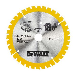 DEWALT DT1206-QZ CORDLESS TRIM SAW BLADE 165MM X 20MM X 36T