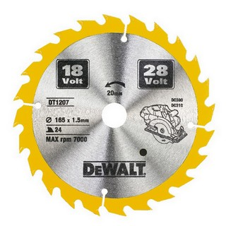DEWALT DT1207-QZ CORDLESS TRIM SAW BLADE 165MM X 20MM X 24T