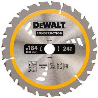 DEWALT DT1951-QZ CONSTRUCTION CIRCULAR SAW BLADE 24T X 20 X 184 MM