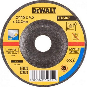DEWALT DT3467-QZ 115X4.0X22.2MM DEPRESSED CENTRE INOX GRINDING DISC