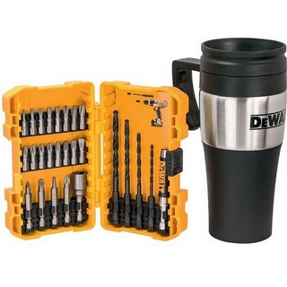 DEWALT DT71580-QZ 26 PIECE DRILL & SCREWDRIVER BIT SET + THERMAL TRAVEL MUG