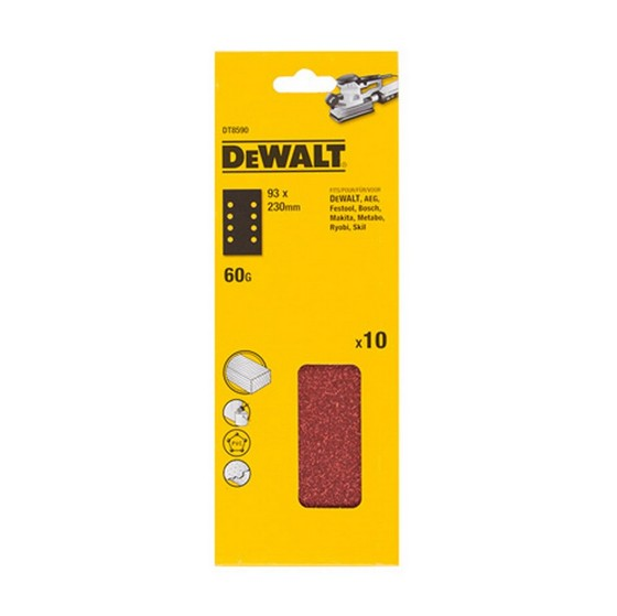 DEWALT DT8590-QZ 93X230MM MULTI PURPOSE SANDING SHEET 60 GRIT (PACK OF 10)