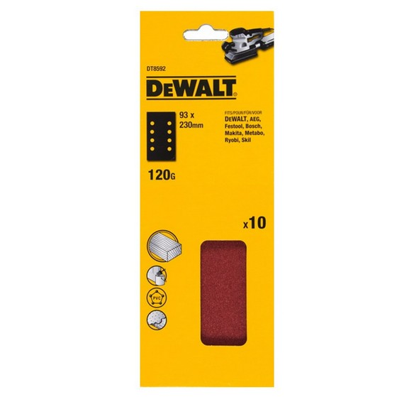 DEWALT DT8592-QZ 93X230MM MULTI PURPOSE SANDING SHEET 120 GRIT (PACK OF 10)