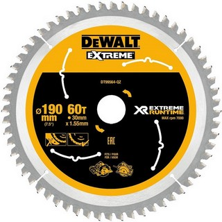 DEWALT DT99564-QZ XR FLEXVOLT SAW BLADE 190MM X 30MM 60T