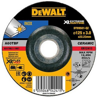 DEWALT DT99581-QZ XR FLEXVOLT METAL GRINDING DISC 125MM X 3MM