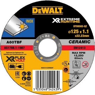 DEWALT DT99582-QZ XR FLEXVOLT METAL CUTTING DISC 125MM X 1.1MM