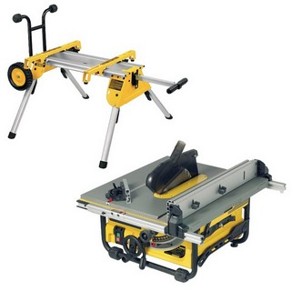 DEWALT DW745RS 250MM TABLE SAW 110V + DE7400 ROLLING LEG STAND