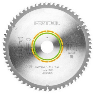 FESTOOL 500125 SAW BLADE 216X2.3X30 W60 TOOTH