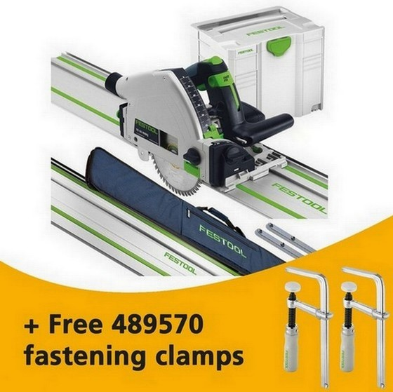 FESTOOL 561584 TS55REQ/ KIT 160MM PLUNGE SAW 110V WITH 2X 1.4M RAILS, 2X CONNECTORS, RAIL CASE AND T-LOC CASE