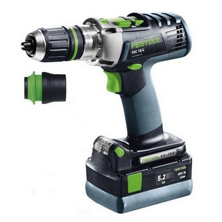 FESTOOL 564580 18V PDC PERCUSSION DRILL WITH 2X 5.2AH LI-ION BATTERIES