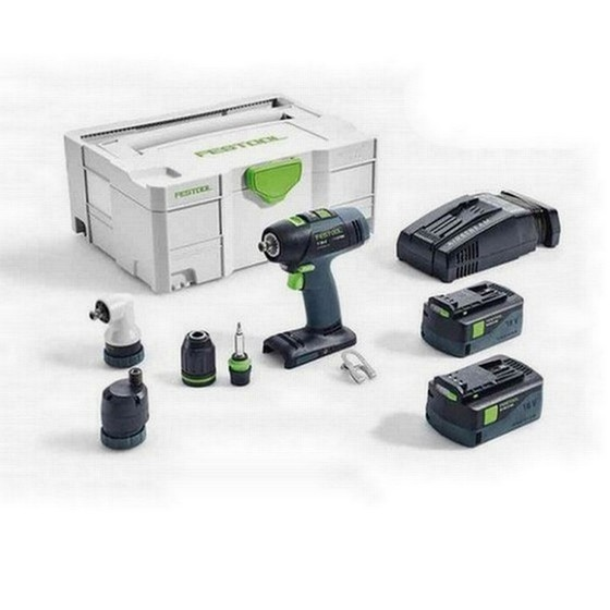 FESTOOL 574759 T18+3 LI 5,2 SET GB 18V DRILL DRIVER 2 X 5.2AH AIRSTREAM LI-ION BATTERIES SUPPLIED IN T-LOC CASE