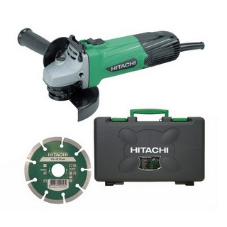 HITACHI G12SSCD 115MM ANGLE GRINDER 110V WITH DIAMOND BLADE AND CARRY CASE