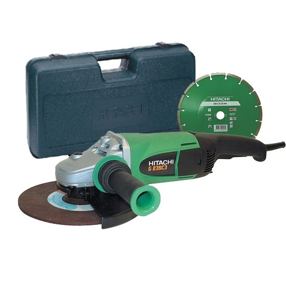 HITACHI G23SSCDL 230MM ANGLE GRINDER 110V WITH DIAMOND BLADE AND CARRY CASE