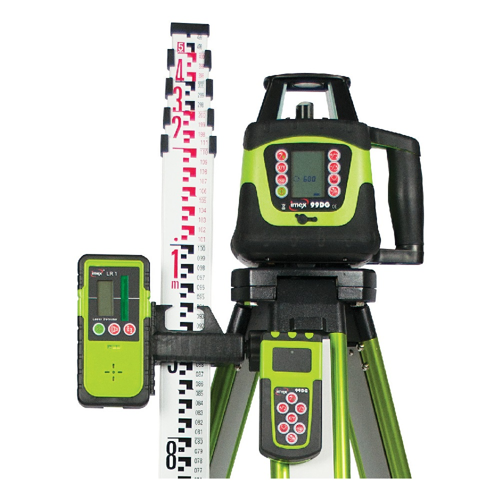IMEX 99DG DIAL-IN GRADE ROTATING LASER LEVEL KIT INCLUDES 5M STAFF & TRIPOD
