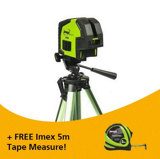 IMEX LX22R KIT CROSS LINE LASER AND PLUMB SPOT WITH TRIPOD