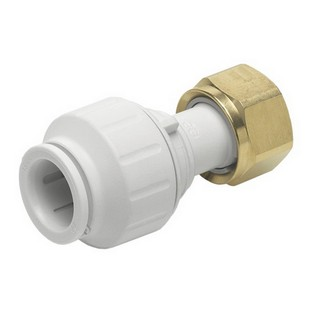 JOHN GUEST SPEEDFIT PEMSTC1514 STRAIGHT TAP CONNECTOR WITH BRASS SWIVEL NUT 15MMX1/2IN WHITE