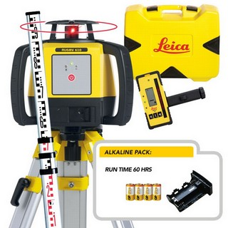 LEICA RUGBY 610 ROTATING LASER LEVEL ALKALINE KIT INCLUDES TRIPOD, STAFF & RECEIVER