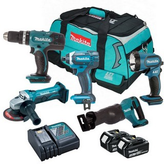 MAKITA 18V 5 PIECE KIT WITH 2X 3.0AH LI-ION BATTERIES SUPPLIED IN MAKITA KIT BAG