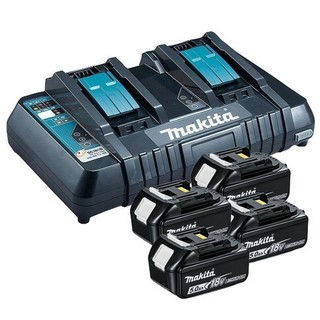 MAKITA 197627-6 POWER PACK 4 X 5.0AH BATTERIES & TWIN PORT CHARGER