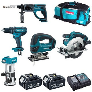 MAKITA DHP482-DRT50-DKP180-DJV180-DSS611 18V PIECE KIT WITH 2X 4.0AH LI-ION BATTERIES, CHARGER & BAG