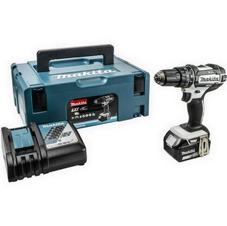 MAKITA DHP482M1JW 18V WHITE COMBI HAMMER DRILL WITH 1 X 4.0AH LI-ION BATTERY SUPPLIED IN MAKPAC CASE