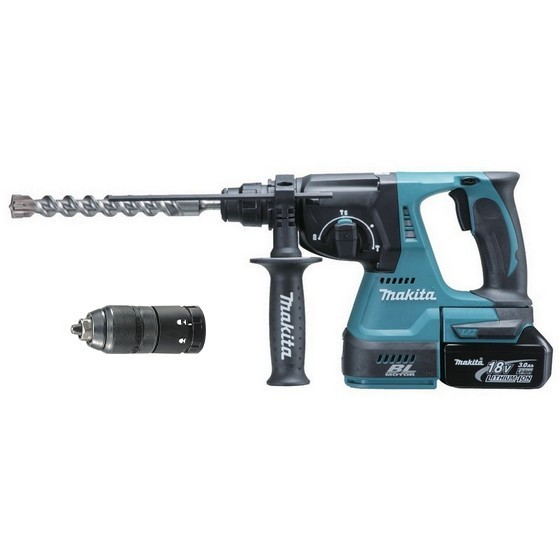 MAKITA DHR243RFJ 18V BRUSHLESS 3 MODE SDS+  HAMMER DRILL WITH QUICK CHANGE CHUCK & 2X 3.0AH LI-ION BATTERIES IN CASE