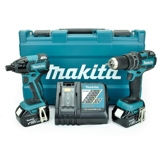 MAKITA DLX2002M 18V BRUSHLESS COMBI HAMMER DRILL & IMPACT DRIVER 2X 4.0AH LI-ION BATTERIES