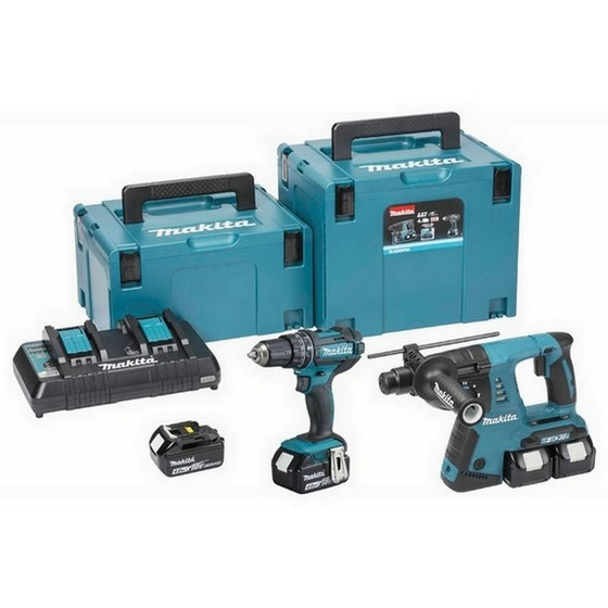 MAKITA DLX2137PMJ 18V TWIN SDS & COMBI HAMMER DRILL KIT WITH 4X 4.0AH LI-ION BATTERIES