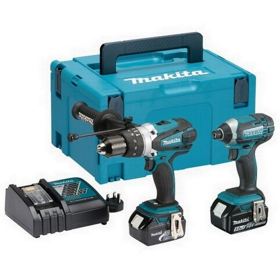 MAKITA DLX2145MJ 18V COMBI DRILL AND IMPACT DRIVER TWIN PACK WITH 2X 4 0AH  LI-ION BATTERIES