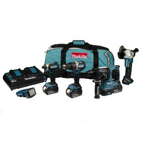 MAKITA DLX5042PT 18V LXT BRUSHLESS 5 PIECE KIT WITH 3X 5.0AH LI-ION BATTERIES