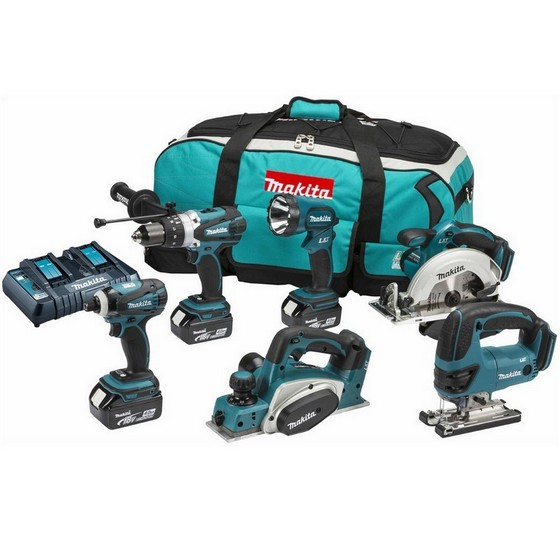 MAKITA DLX6012PM 18V 6 PIECE KIT WITH DUAL CHARGER + 3X 4.0AH LI-ION BATTERIES