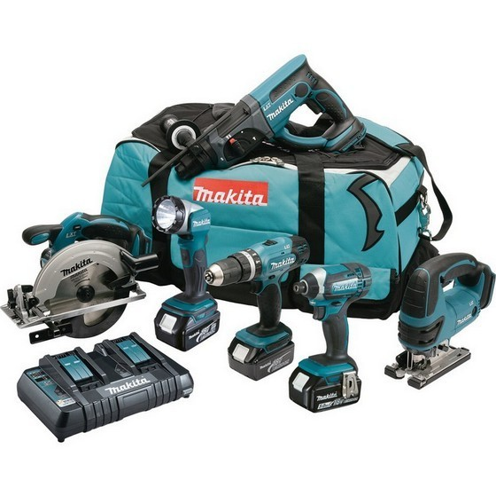 MAKITA DLX6068PT 18V 6 PIECE KIT WITH 3X5.0AH LI-ION BATTERIES & DUAL CHARGER