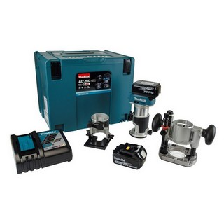 MAKITA DRT50RMJX2 18V BRUSHLESS ROUTER TRIMMER KIT WITH PLUNGE BASES AND 2X 4.0AH LI-ION BATTERIES