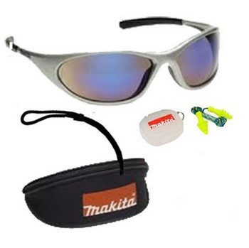 MAKITA P-66385 SILVER SAFETY SUNGLASSES (BLUE TINT)