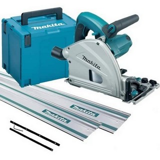 MAKITA SP6000J1 165MM CIRCULAR PLUNGE SAW 110V WITH 2X 1.4M RAILS, CONNECTOR, RAIL BAG AND CASE