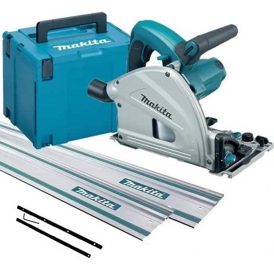 MAKITA SP6000J1 165MM CIRCULAR PLUNGE SAW 240V WITH 2X 1.4M RAILS, CONNECTOR, RAIL BAG AND CASE